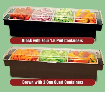 Black Ice Cooled Condiment Holder with Clear Dome Lid - Three Quart Inserts