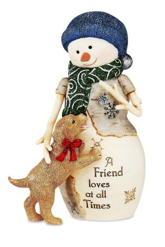 "5"" Snowman with Puppy"