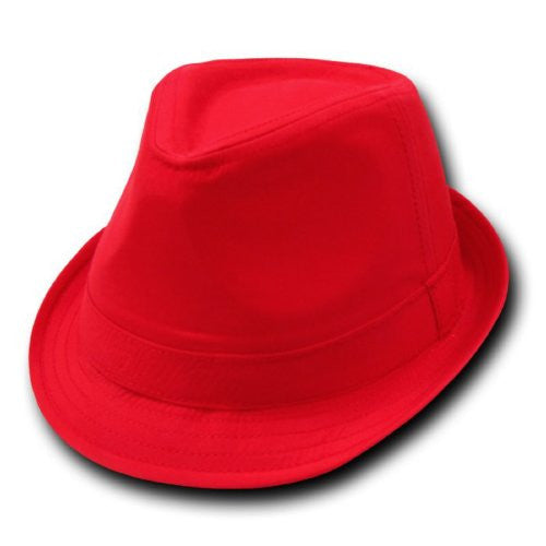 DECKY Basic Poly Woven Fedora Hats (Red / Red / Small/Medium)