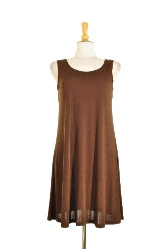 BNS Short Tank Dress Sleeveless - Brown, Large