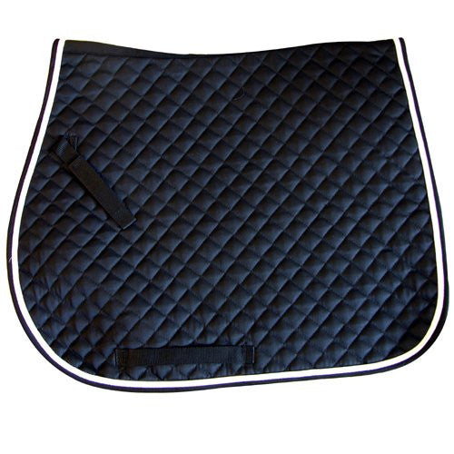 Quilted All Purpose Saddle Pad - Black/White Piping