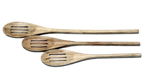 Wooden Spoons, Slotted, 3pc 10, 12 & 14""