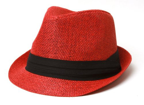 Fedora Gangster Hat Red Cuban Tweed