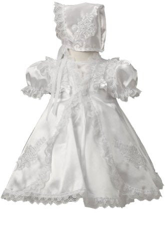 Infant Flower Girl Christening Dress - White, Small