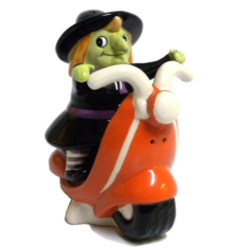 Witch/Scooter Salt & Pepper, Gift Box, Ceramic, 3.75
