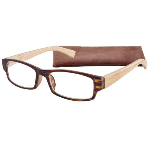 """Striated Bamboo"" Men's Reading Glasses with Matching Case By ICU"