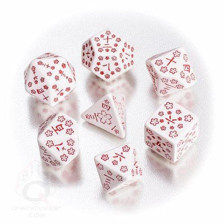 White & red Japanese Dice (set of 7)