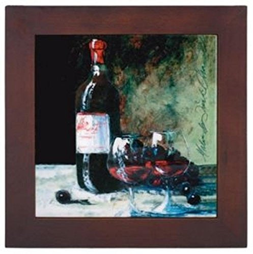 Ceramic Trivet with Wine Bottle and Two Glasses Art Image- Lower Price