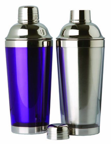 Double Wall Stainless Steel Cocktail Shaker, 16 oz., Blue