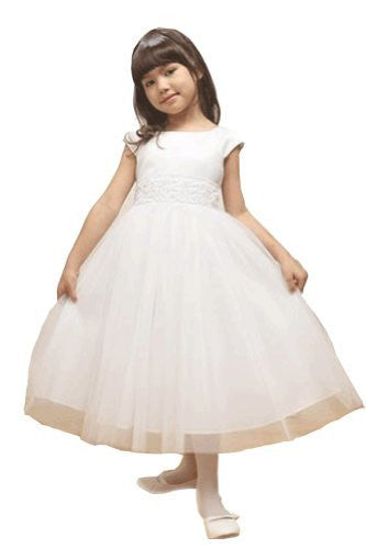 Little Girls' Angelic Tulle Dress - White, Size 12