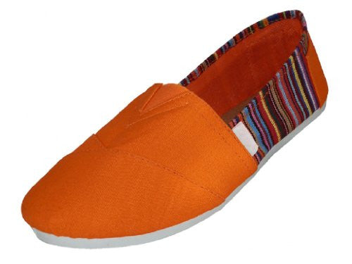 Wholesale Women's Canvas Shoes - Orange, Size 8