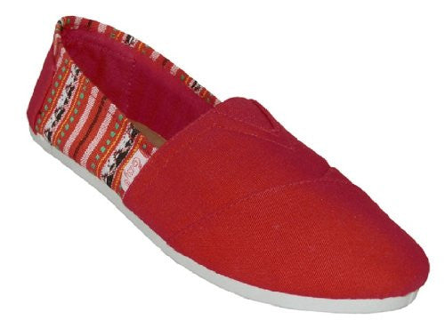 Wholesale Women's Canvas Shoes - Red, Size 8