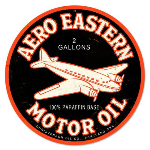 Aero Eastern round metal sign measures 14 inches by 14 inches