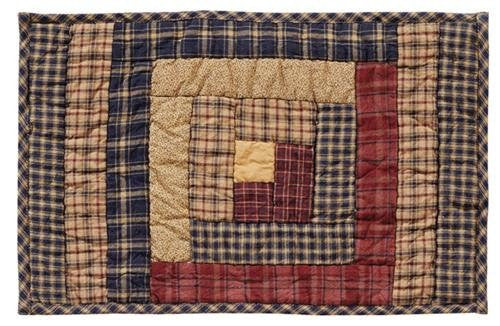 Millsboro Placemat Log Cabin Block Quilted Set of 2 12x18""