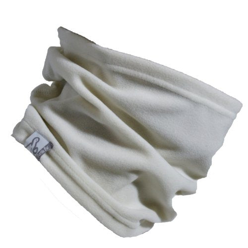 Lightweight Single-Layer Micro Fur Fleece Neck Warmer, Ivory