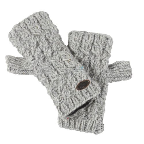 Women's Nepal Mika Fingerless Mittens, Hand Knit Wool, Smoke Heather