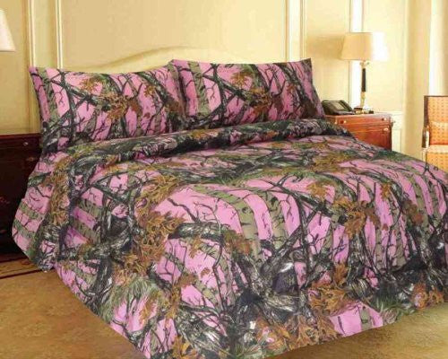 Pink Woodland Camo 3 Piece Sheet and Pillowcase Set - Twin -