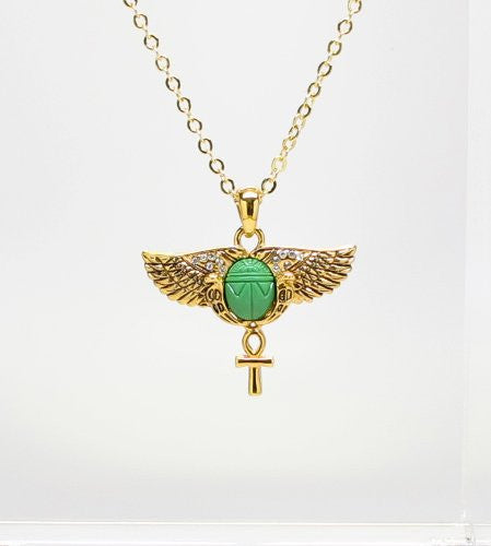 Scarab Wings with Ankh Necklace