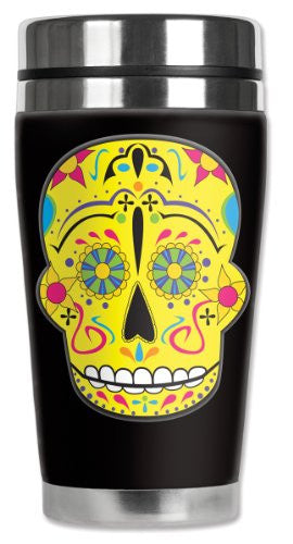 Travel Mug - Yellow Sugar Skull