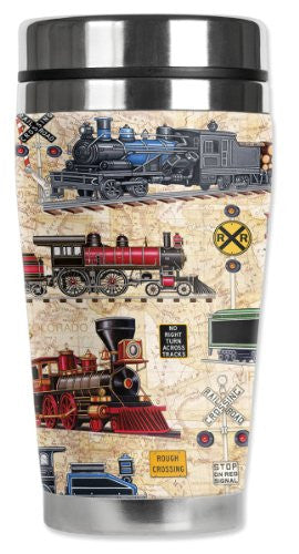 Travel Mug - Steam Locomotives (tan)