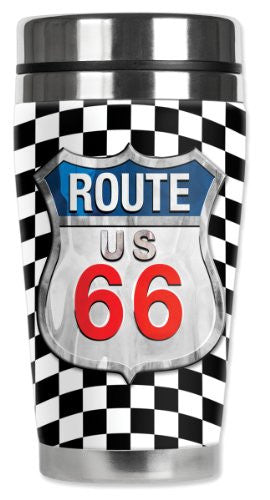 Travel Mug - Checkered Flag Route 66