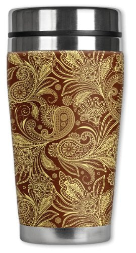 Travel Mug - Yellow & Brown Paisley