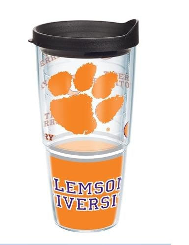 Collegiate Clemson University Wrap with Lid 24oz Tumbler