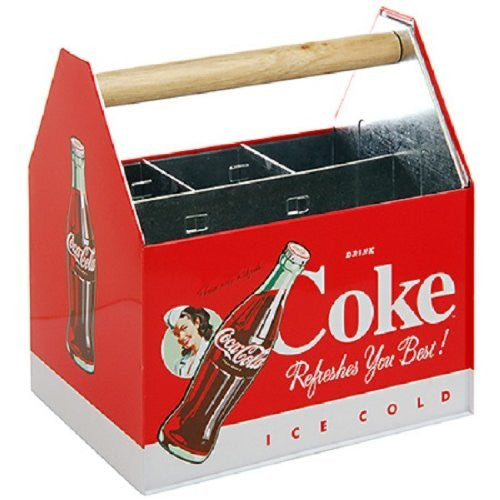 Coke Galvanized Napkin /Utensil Holder