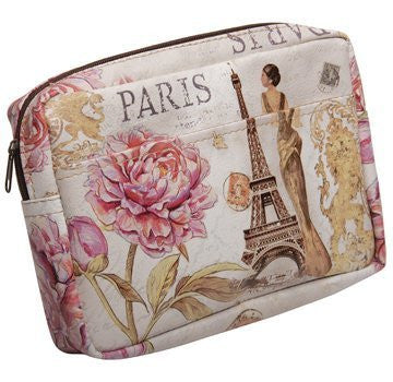 "Travel/Cosmetic Bag Paris Design - Oblong with pocket 8.5"" x 1"" x 6"""