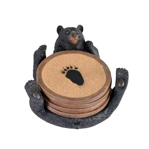 "BLACK BEAR COASTER SET/ 5""L"