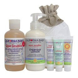 Newborn Tote: Super Sensitive  6.5 oz. ™ SBW;  6.5 oz Everyday Lotion,  .5 oz. spf sunscreen and 2 -.5 oz Everday Lotion