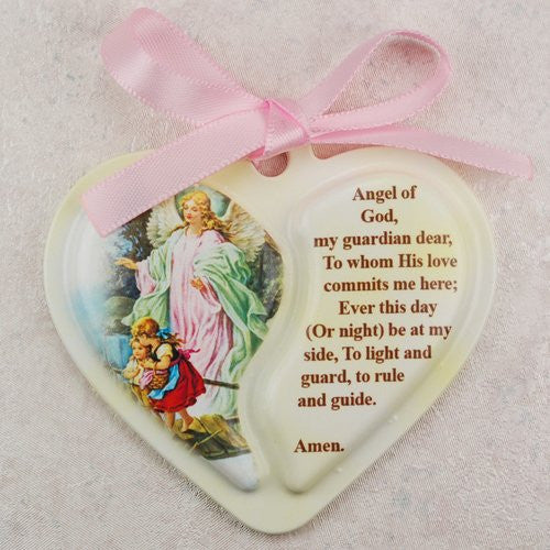 Guardian Angel Heart Crib Medal,Carded with Pink Ribbon - 2 1/2""