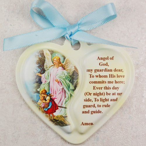 Guardian Angel Heart Crib Medal,Carded with Blue Ribbon - 2 1/2""
