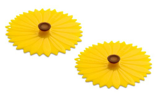 "Sunflower Lid Extra Small set/2 4"" Drink Cover"