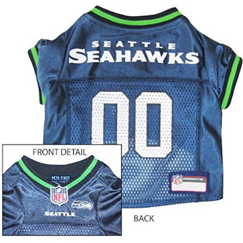 Seatlle Seahawks - NFL Dog Jerseys, blue w/ neon green trim, small