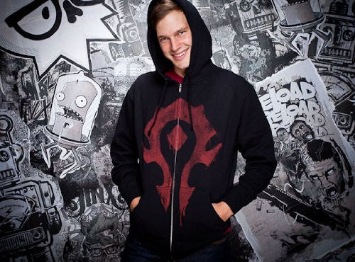 World of Warcraft Horde Spray Zip-up Hoodie- Black, Small