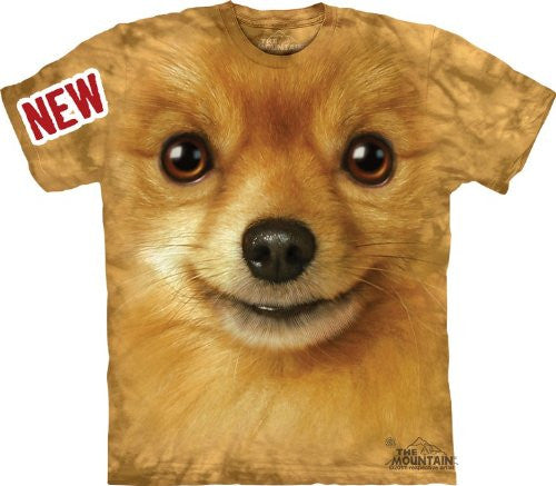 Pomeranian Face, Loose Shirt - Brown Adult Large