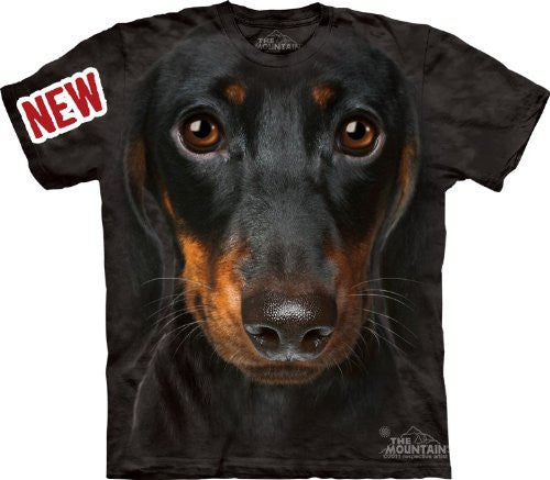 Dachshund Face, Loose Shirt - Black Adult Small