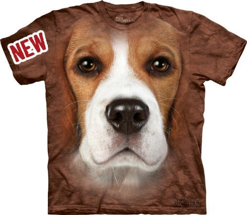 Beagle Face, Loose Shirt - Brown Adult Small