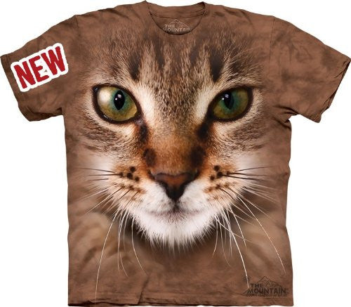 Striped Cat Face, Loose Shirt - Brown Adult Large
