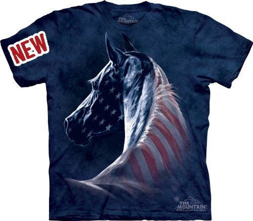 Patriotic Horse, Loose Shirt - Blue Adult X-Large