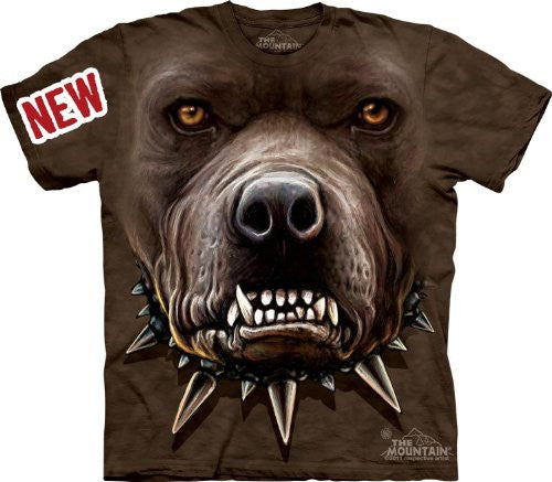 Zombie Pitbull Face, Loose Shirt - Brown Adult X-Large