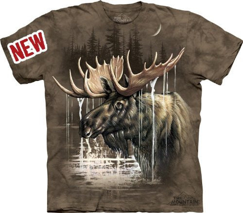 Moose Forest, Loose Shirt - Brown Adult X-Large