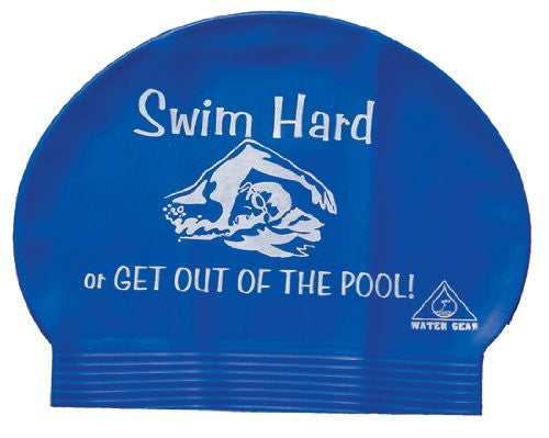 Water Gear Swim Hard or Get Out Latex Swim Cap