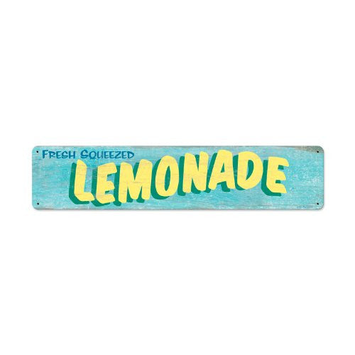 Lemonade metal sign measures 28 inches by 6 inches