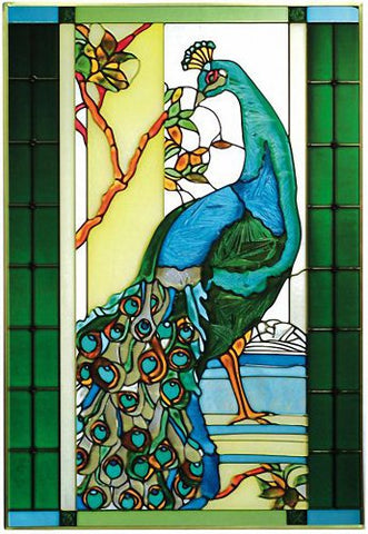 "Wildlife, Peacock V-526, Zinc frame, 14"" Wide x 20.5"" High and Chain Kit"