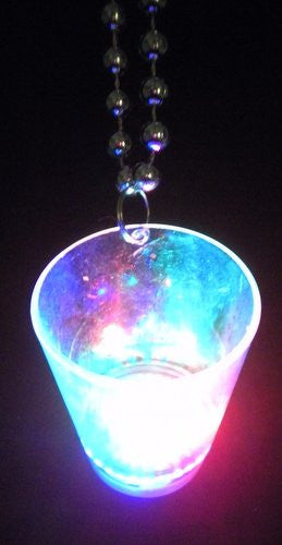 36 inch - 7.5 mm Metallic Silver Bead w/ LED Clear Shot Glass w/ Red, Green and Blue Light - Each