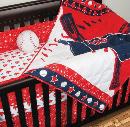MICRO FIBER CRIB SET Boston Red Sox - Color Bright Red- Size Standard