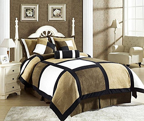 7 Piece Black Brown Beige Micro Suede Patchwork Comforter Set Machine Washable, Bed-in-a Bag, (Size:Queen)