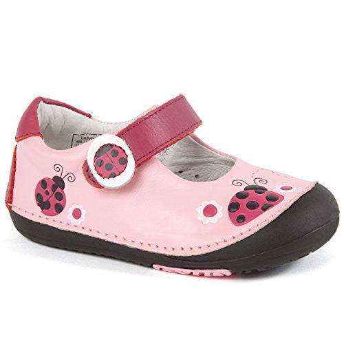 Momo Baby Leather Shoes with Flexible Rubber Sole - Ladybugs Pink Size 6.5